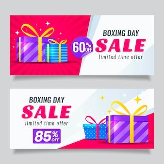 Plantilla de banners de venta de boxing day en diseño plano