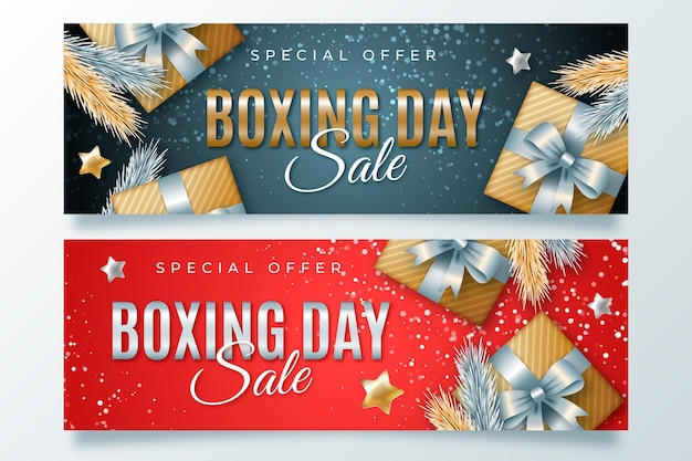 Plantilla de banners de venta de boxing day realista