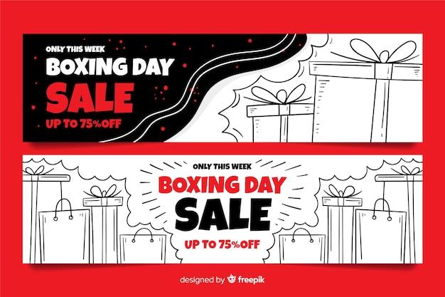 Plantilla de banners de venta de día de boxeo dibujado a mano