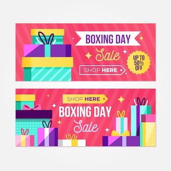 Plantilla de banners de venta de día de boxeo de diseño plano