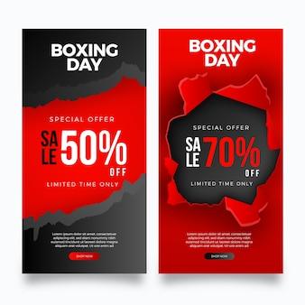 Plantilla de banners de venta de día de boxeo realista
