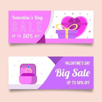 Plantilla de banners de venta de día de san valentín de diseño plano