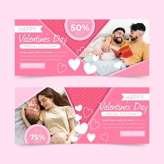 Plantilla de banners de venta de día de san valentín