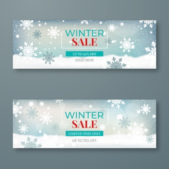 Plantilla de banners de venta de invierno borrosa