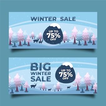 Plantilla de banners de venta de invierno dibujado a mano