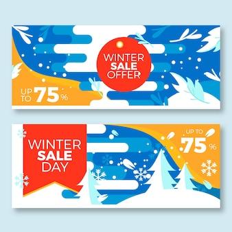 Plantilla de banners de venta de invierno de diseño plano