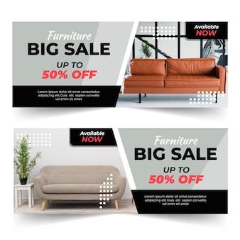 Plantilla de banners de venta de muebles