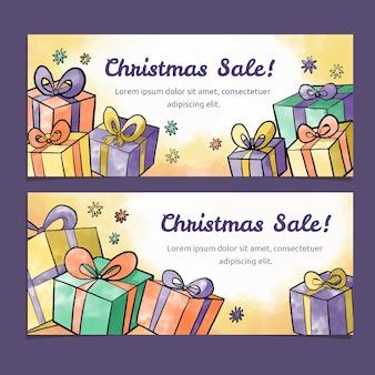 Plantilla de banners de venta de navidad acuarela