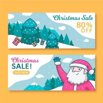 Plantilla de banners de venta de navidad dibujados a mano