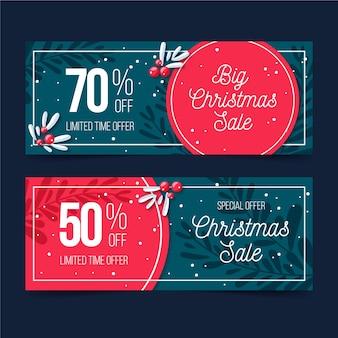 Plantilla de banners de venta de navidad de diseño plano