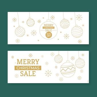 Plantilla de banners de venta de navidad dorada