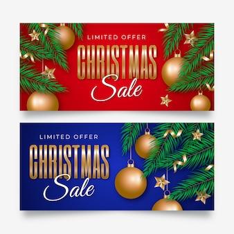 Plantilla de banners de venta de navidad realista