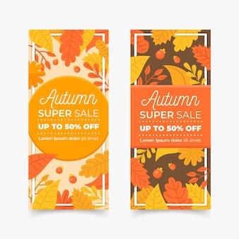 Plantilla de banners de venta otoño diseño plano