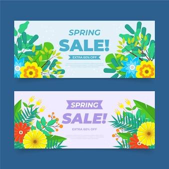 Plantilla de banners de venta de primavera de diseño plano