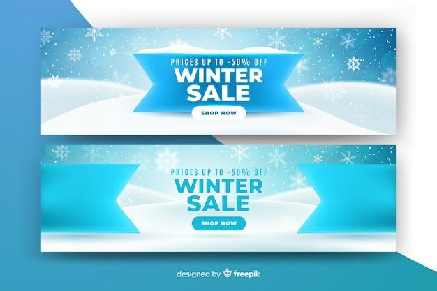 Plantilla de banners de venta realista de invierno