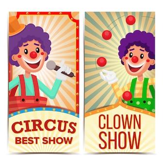 Plantilla de banners verticales de circo payaso.