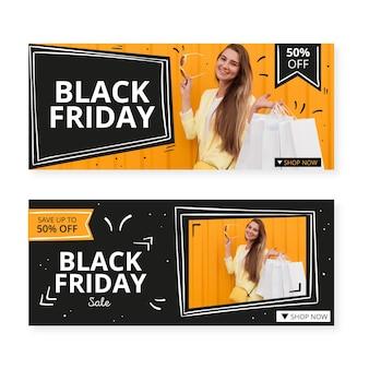 Plantilla de banners de viernes negro dibujados a mano