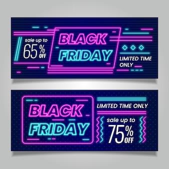 Plantilla de banners de viernes negro de diseño de neón