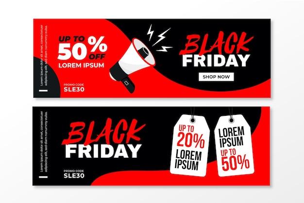 Plantilla de banners de viernes negro de diseño plano