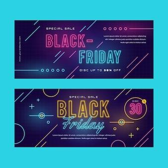 Plantilla de banners de viernes negro de neón