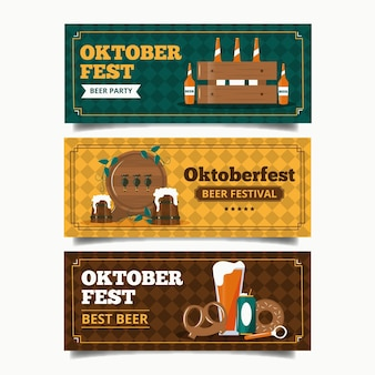Plantilla de banners vintage oktoberfest
