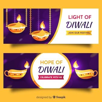 Plantilla de banners web diwali de diseño plano