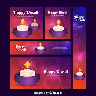 Plantilla de banners web diwali realista