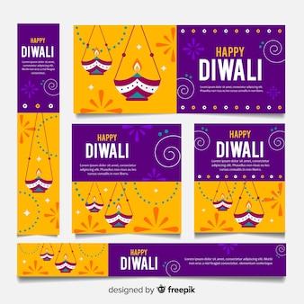 Plantilla de banners web feliz diwali