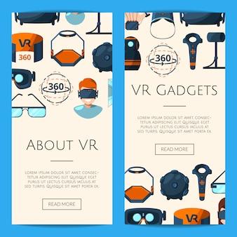 Plantilla de banners web vertical con elementos de realidad virtual de estilo plano