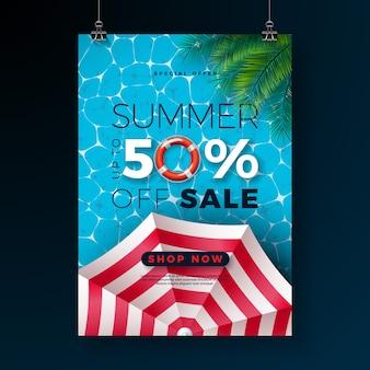 Plantilla de bannert de venta de verano con hojas de palmera tropical y flotador