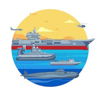 Plantilla de barcos militares