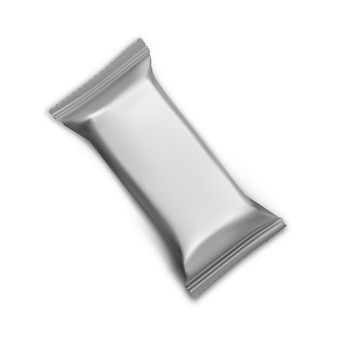 Plantilla de barra de chocolate maqueta de paquete de bocadillos de aluminio ilustración de envoltura vectorial de paquete de dulces galleta