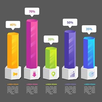 Plantilla de barras 3d de infografía