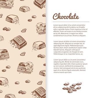 Plantilla de barras de chocolate bosquejado