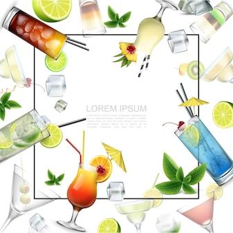 Plantilla de bebidas alcohólicas realista con marco para texto cócteles de alcohol bebidas tomadas hojas de menta cubitos de hielo y rodajas de frutas