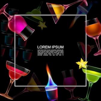 Plantilla de bebidas de fiesta nocturna realista con marco para texto diferentes cócteles de alcohol y vaso de chupito ardiente