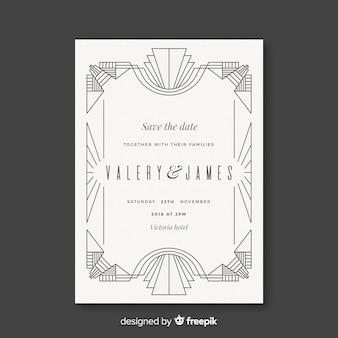 Plantilla blanca de boda en estilo art deco