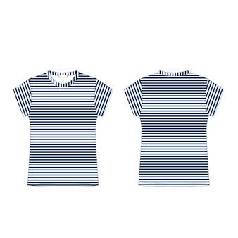 Plantilla en blanco de camiseta en tela de rayas azules aislada sobre fondo blanco. frente y detrás. estilo casual. camiseta con dibujo técnico. moda infantil