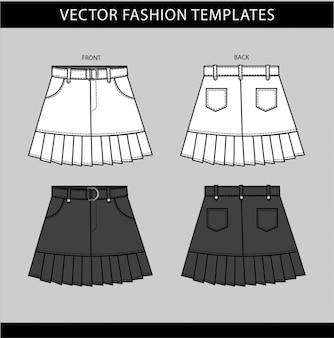 Plantilla de boceto plano de moda de mini falda plisada