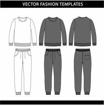 Plantilla de boceto plano de sudadera y pantalones de moda, traje de jogging en la parte delantera y trasera, traje de ropa deportiva