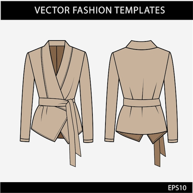 Plantilla de bocetos planos de moda blazer. chaqueta de mujer