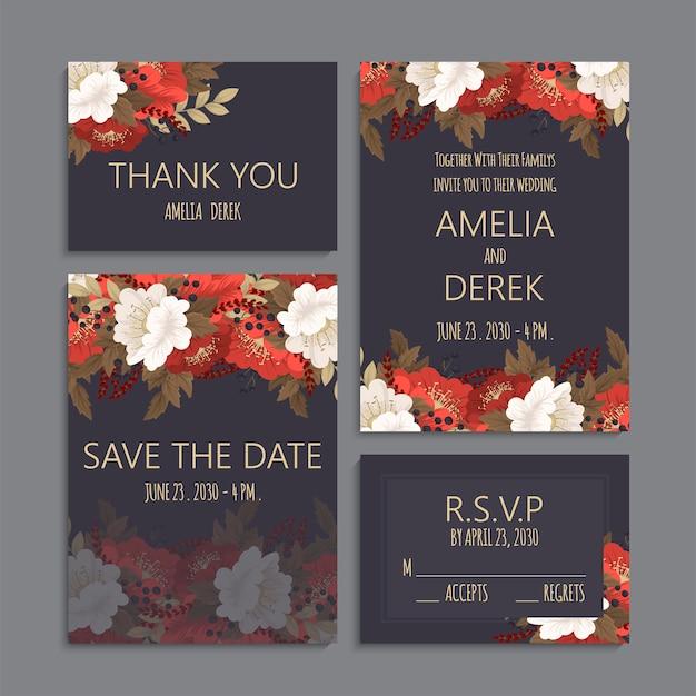 Plantilla de boda floral - conjunto de tarjetas oscuras