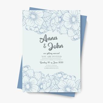 Plantilla de boda floral - flores azules