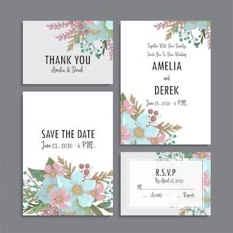 Plantilla de boda floral - menta y tarjetas florales verdes