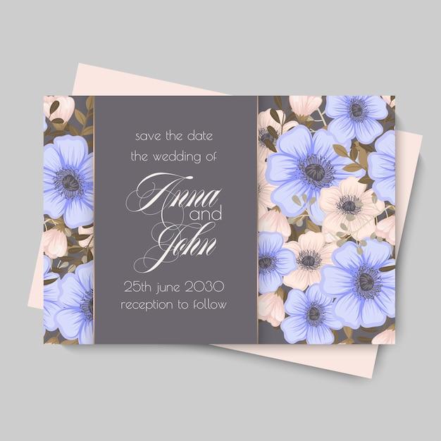 Plantilla de boda floral - tarjeta floral púrpura