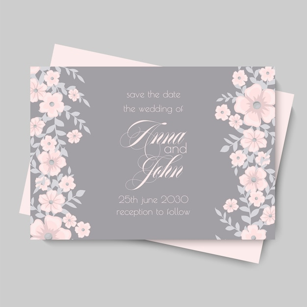 Plantilla de boda floral - tarjeta floral rosa