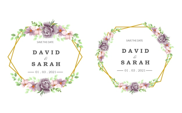 Plantilla de boda con marco de bella flor morada