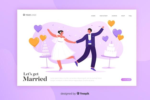 Plantilla de boda de página de destino