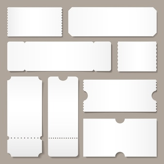 Plantilla de boleto en blanco. boletos de conciertos del festival, diseño de tarjeta de cupón de papel blanco y cine admiten una maqueta aislada