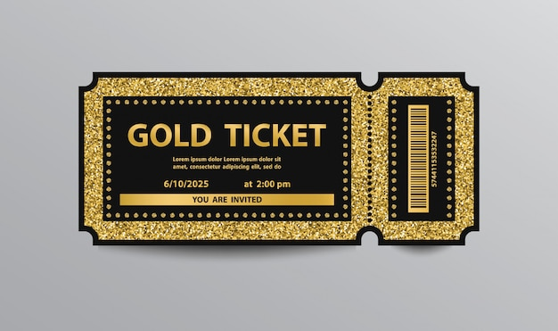 Plantilla de boleto dorado de lujo aislada